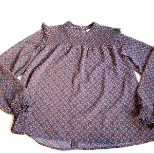 Leith navy blue red ruffle blouse geometric large